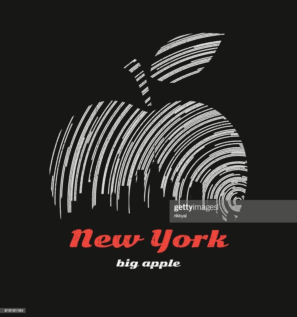 New York big apple t-shirt graphic design with city skyline
