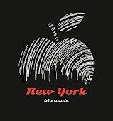 New York big apple t-shirt graphic design with city skyline
