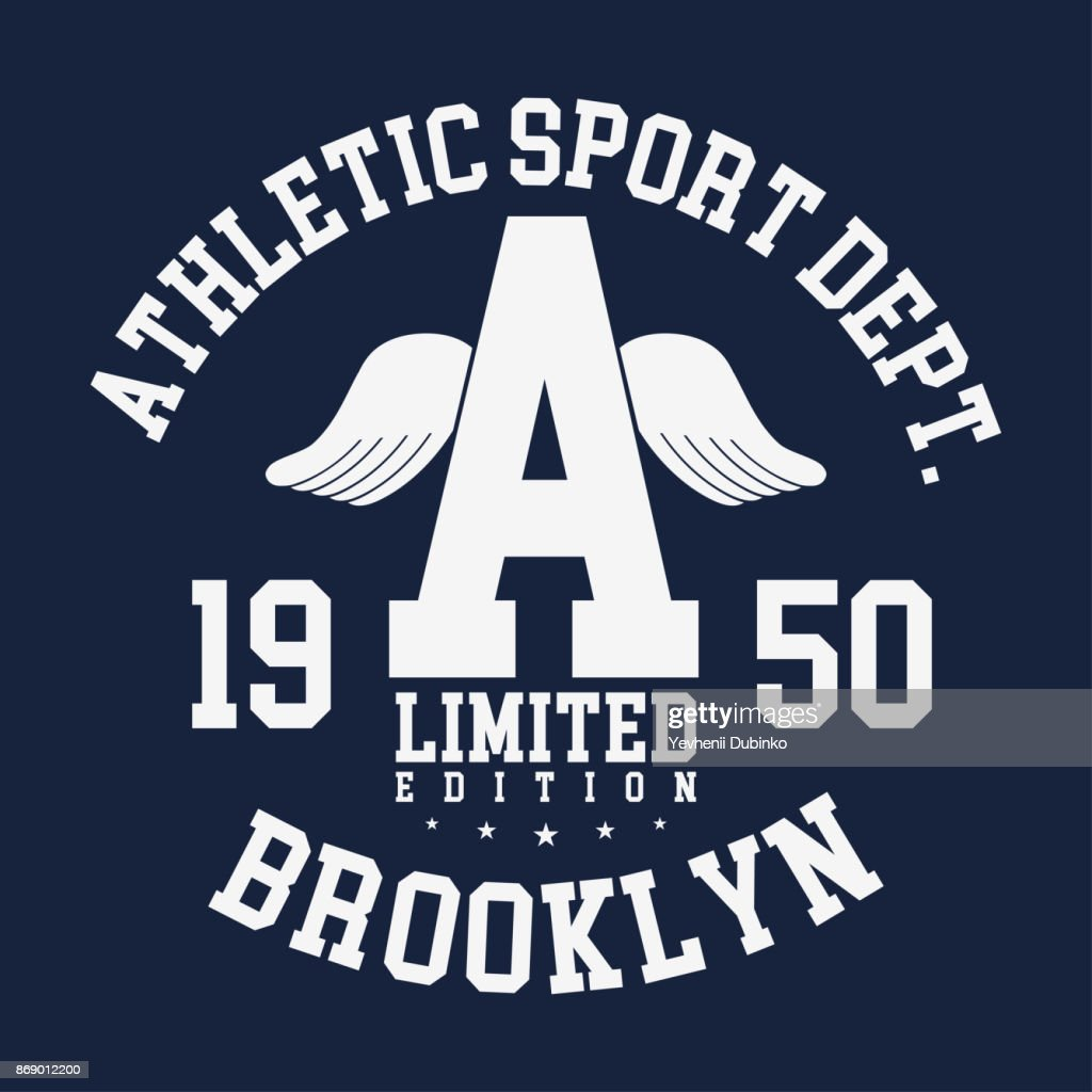 New York, Brooklyn typography, badge for t-shirt print. Varsity style t-shirt graphics