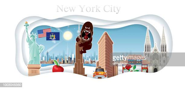 new york city and cut paper - ellis island stock illustrations, clip art, cartoons, & icons