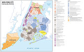 New york city, boroughs, districts, neighborhoods map