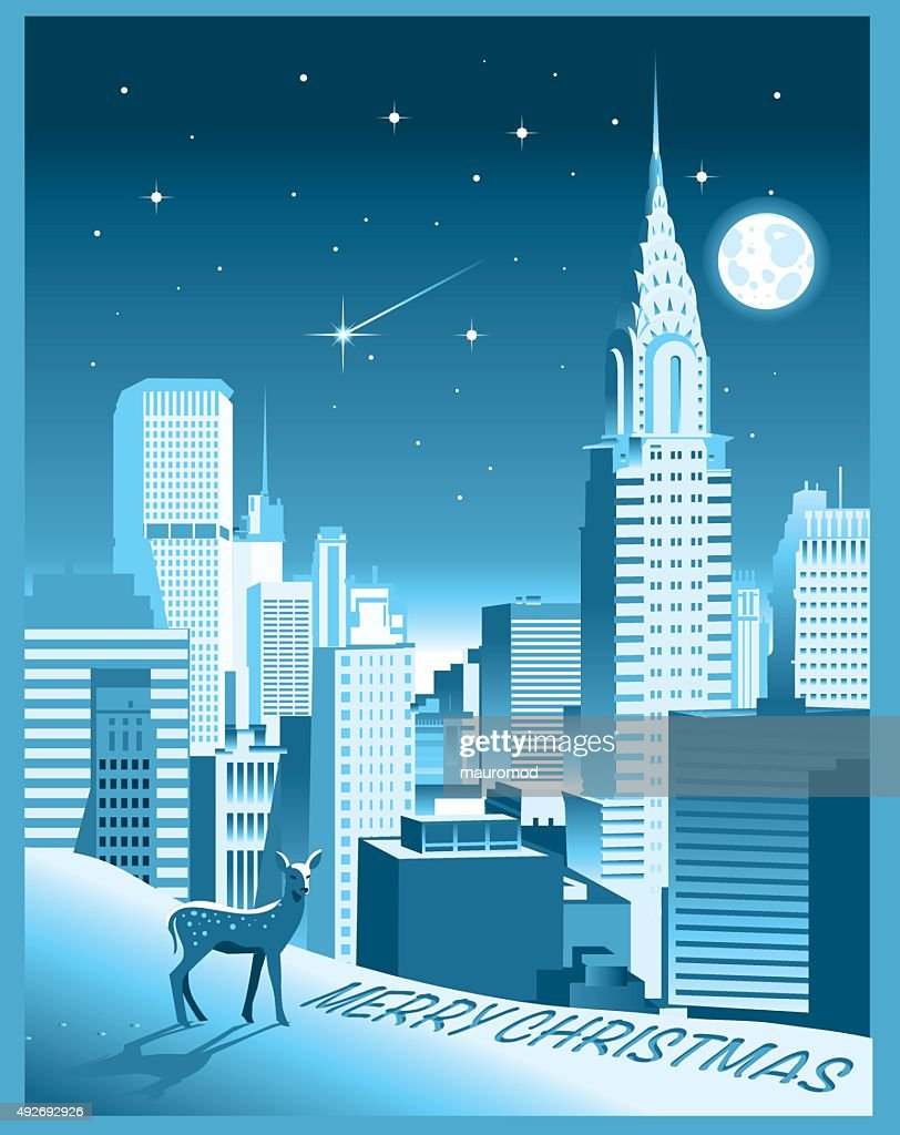 New York City Christmas Card Vector Art | Getty Images