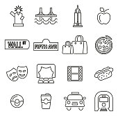 New York City & Culture Icons Thin Line Vector Illustration Set