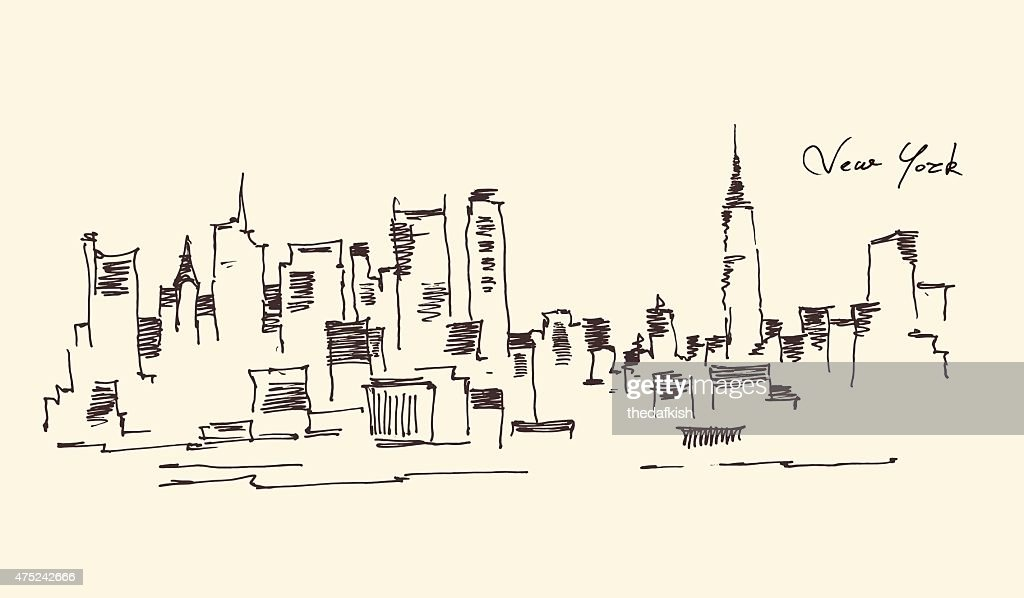 New York city engraving vector illustration, hand drawn