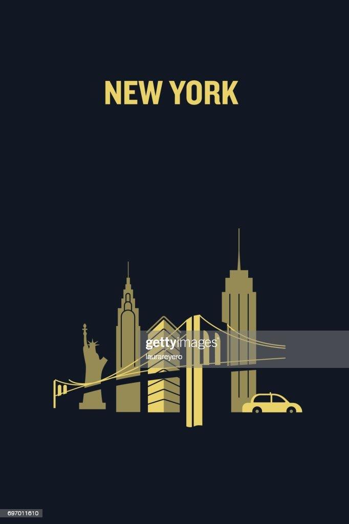 New York city iconic buildings. Flat vector illustration.