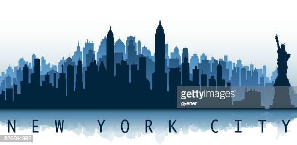 new york city label - skyline stock illustrations