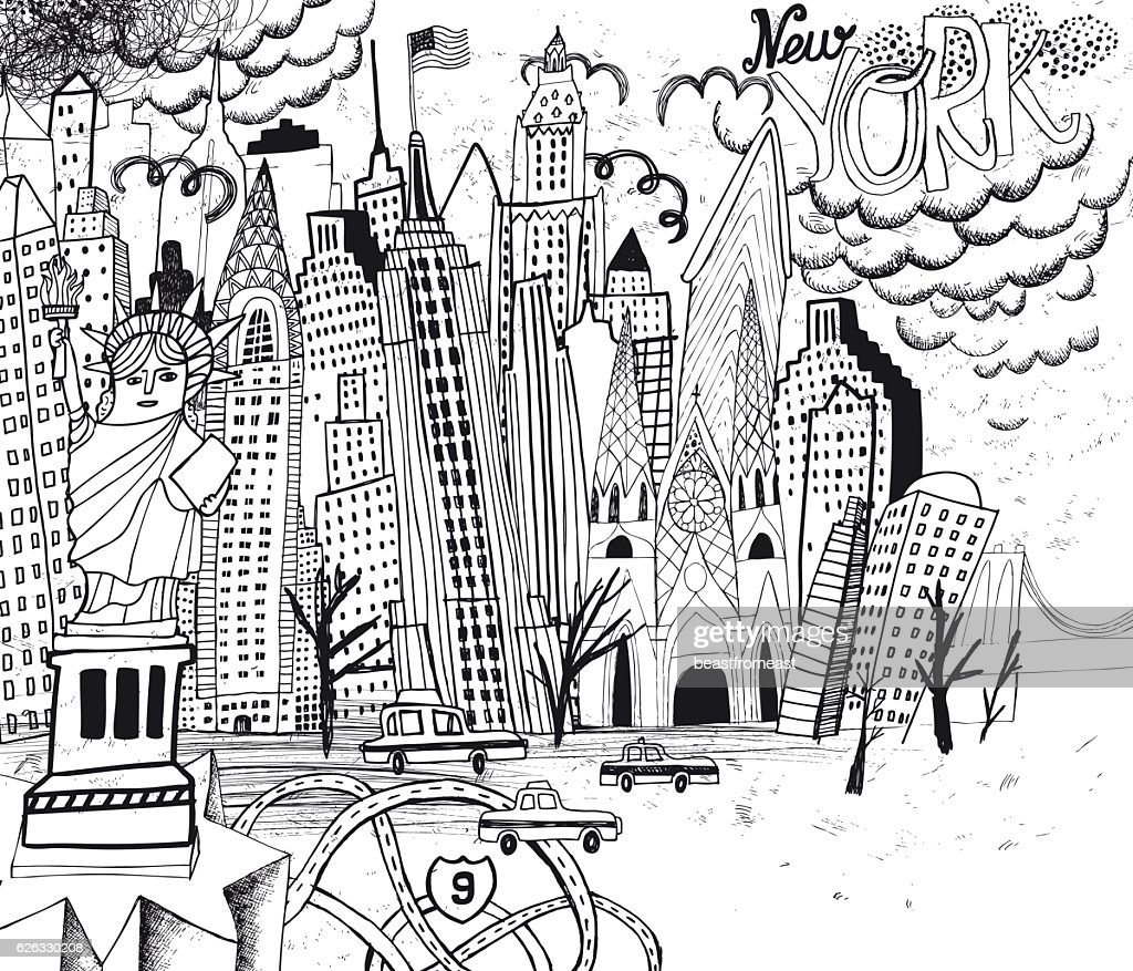 Line Art New York : New york city line art coloring page vector getty images