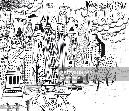 art coloring page.  New York City Line Art Coloring Page Vector Getty Images