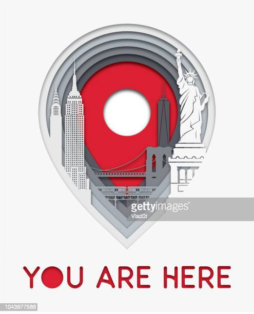 new york city map location icon layers paper cut illustration - brooklyn bridge stock illustrations, clip art, cartoons, & icons