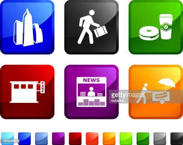 New York City matin gratuit Ensemble d'icônes vectorielles libres de droits pour autocollants