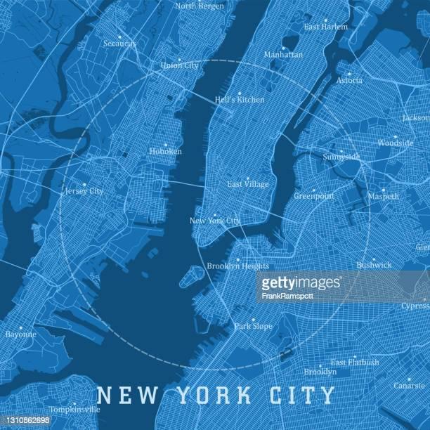 new york city ny city vector road map blue text - frankramspott stock illustrations