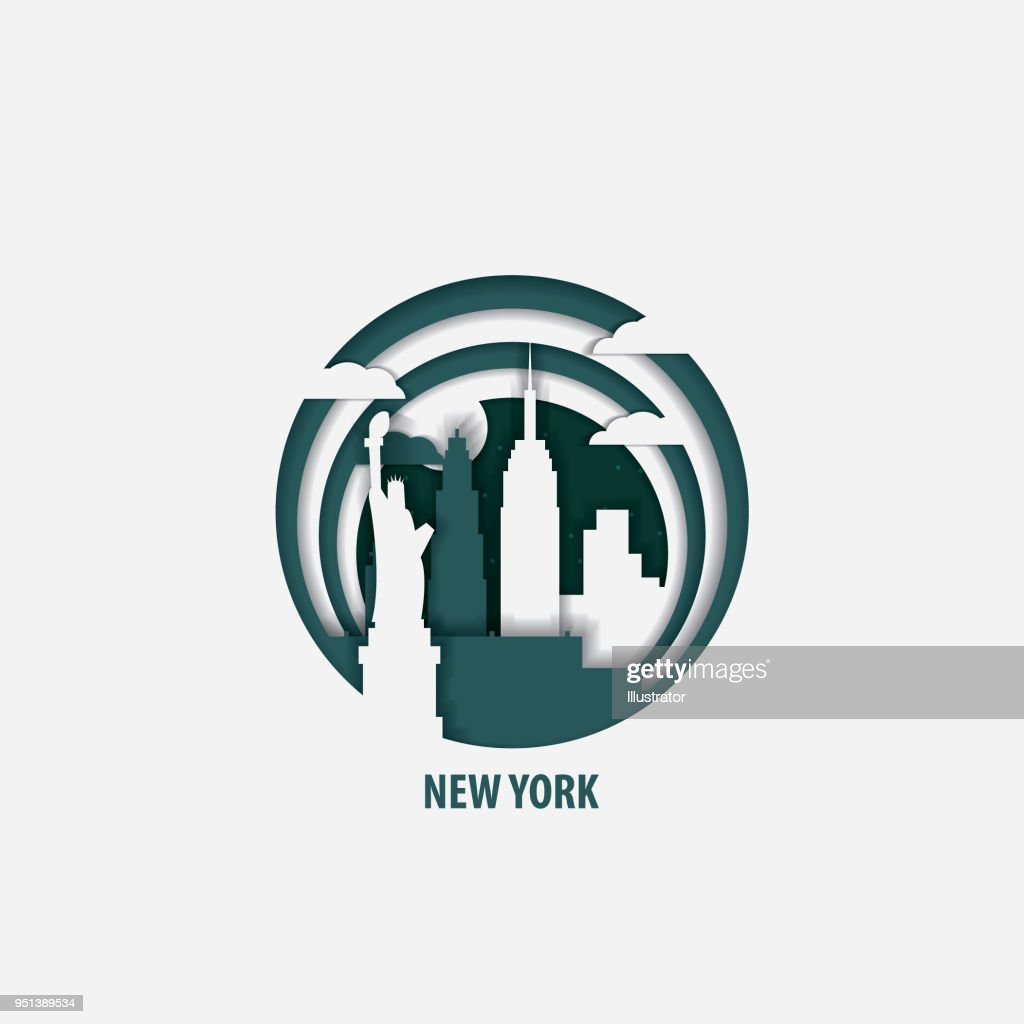 New York city paper cut isolated vector illustration