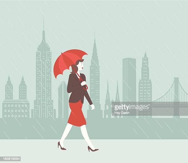 new york city rain - st. patrick's cathedral manhattan stock illustrations, clip art, cartoons, & icons