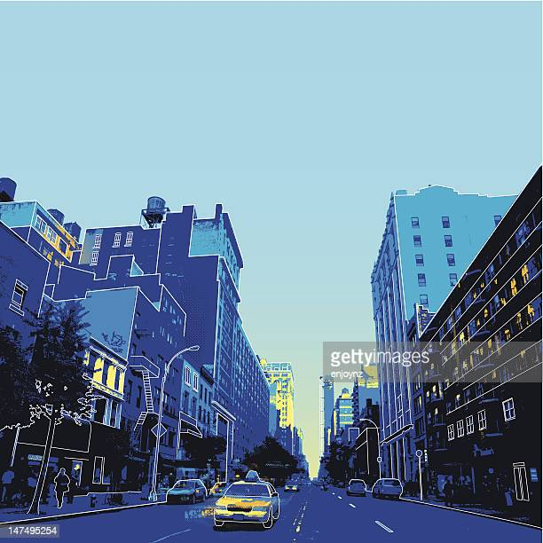 new york city scene - taxi stock illustrations, clip art, cartoons, & icons