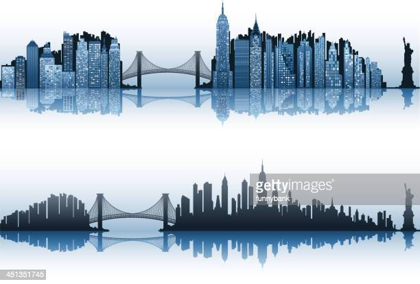new york city set - brooklyn bridge stock illustrations, clip art, cartoons, & icons