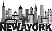 New York City Skyline and Text Black and White Illustration