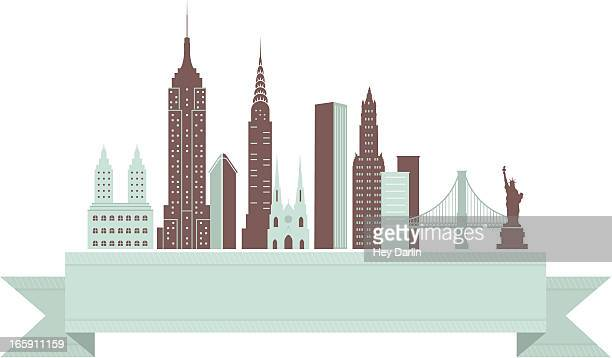 new york city skyline banner - empire state building stock illustrations, clip art, cartoons, & icons