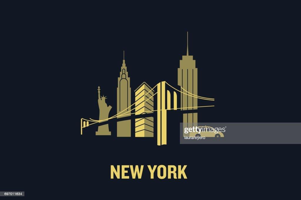 New York city skyline illustration. Flat vector design.