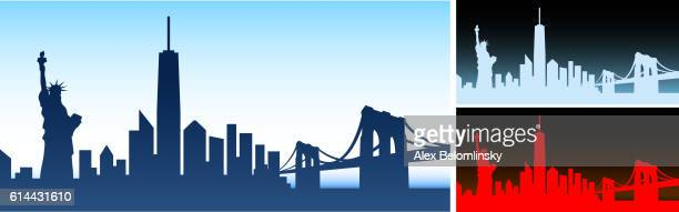 new york city skyline panoramic horizontal background - brooklyn bridge stock illustrations, clip art, cartoons, & icons
