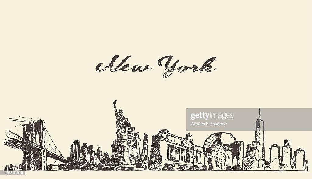 New York city skyline vector engraved drawn sketch