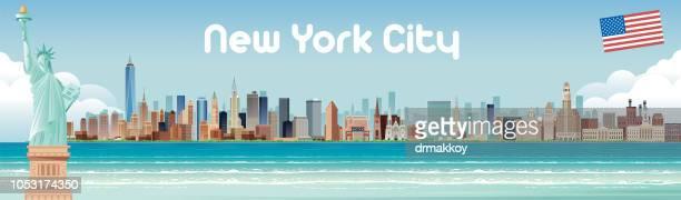 illustrations, cliparts, dessins animés et icônes de new york city skyline - new york city