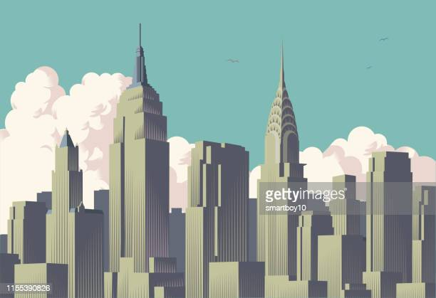 new york city skyline - empire state building stock illustrations