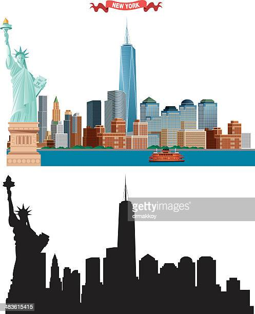 new york city skyline - skyline stock illustrations