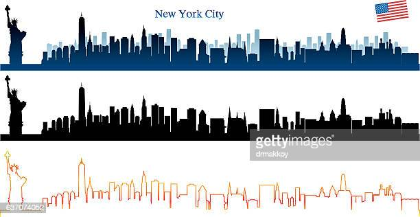 new york city skyline - brooklyn bridge stock illustrations, clip art, cartoons, & icons