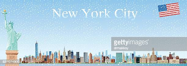 new york city skyline - ellis island stock illustrations, clip art, cartoons, & icons