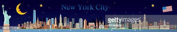 ilustraciones, imágenes clip art, dibujos animados e iconos de stock de edificios de la ciudad de nueva york  - puente colgante