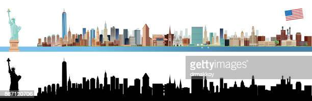 illustrations, cliparts, dessins animés et icônes de new york city skyline - new york city