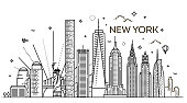 New York city skyline, vector illustration, flat design