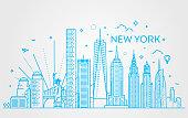New York city skyline, vector illustration, flat design