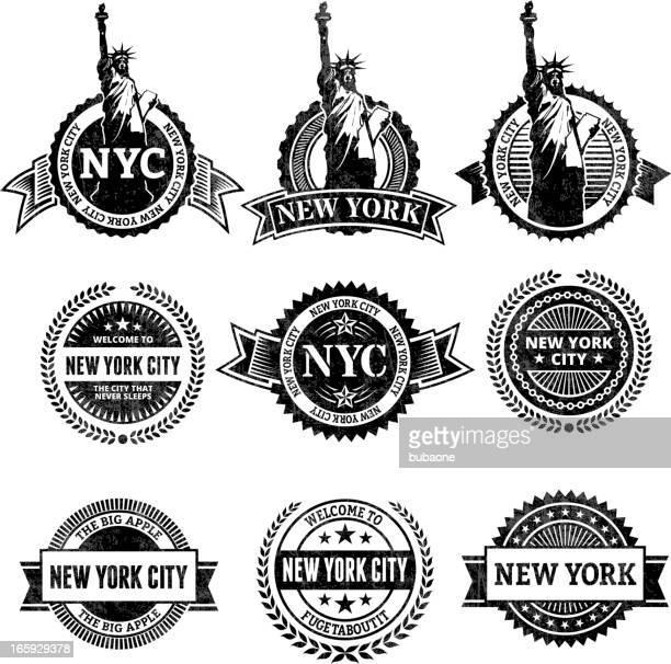 ilustrações, clipart, desenhos animados e ícones de cidade de nova york a estátua da liberdade conjunto de ícones - great seal
