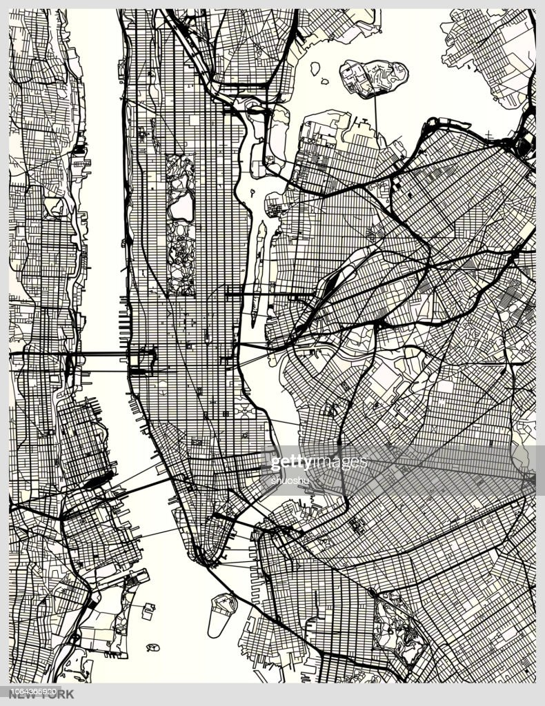 New York city structure art map : stock illustration