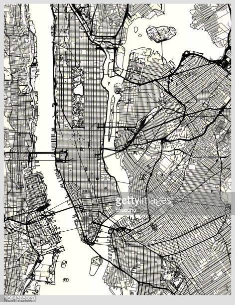 illustrations, cliparts, dessins animés et icônes de carte de new york city structure art - image en noir et blanc