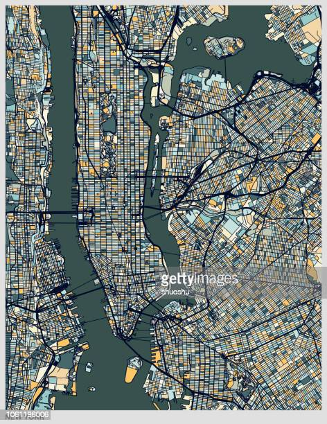 new york city structure colorful art map - physical structure stock illustrations
