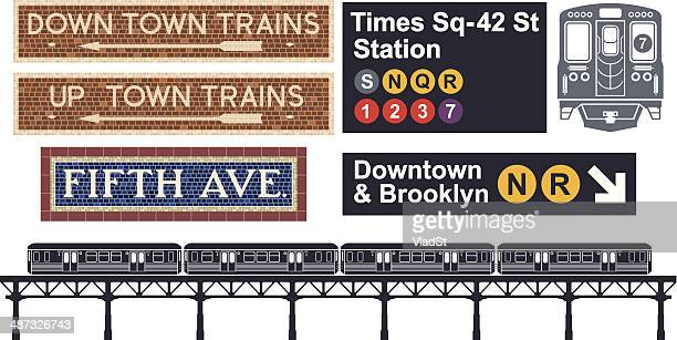 illustrations, cliparts, dessins animés et icônes de métro de new-york - new york city