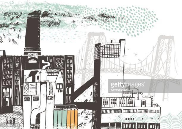 new york city sugar refinery - brooklyn new york stock illustrations, clip art, cartoons, & icons