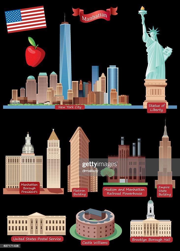 New York City Symbols Vector Art Getty Images