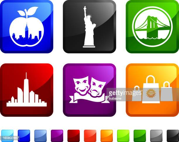 new york city tourism sightseeing vector icon set stickers - brooklyn bridge stock illustrations, clip art, cartoons, & icons