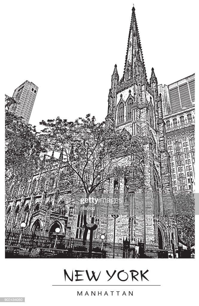 New York city, USA. Trinity Church in Manhattan. Vector illustration in engraving style.
