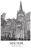 New York city, USA. Trinity Church in Manhattan. Vector illustration in engraving style.