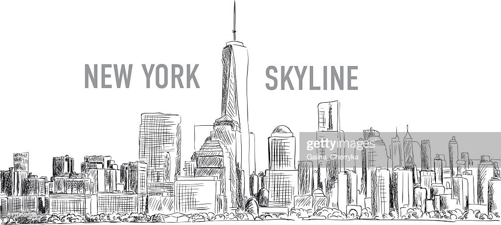 New York city, vector drawing in sketch outline style