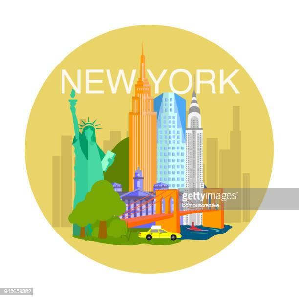illustrazioni stock, clip art, cartoni animati e icone di tendenza di new york city - new york stato