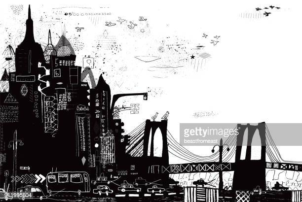 new york city vector illustration - brooklyn bridge stock illustrations, clip art, cartoons, & icons