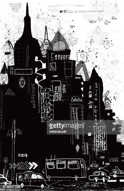 new york city vector illustration - chrysler building stock illustrations, clip art, cartoons, & icons