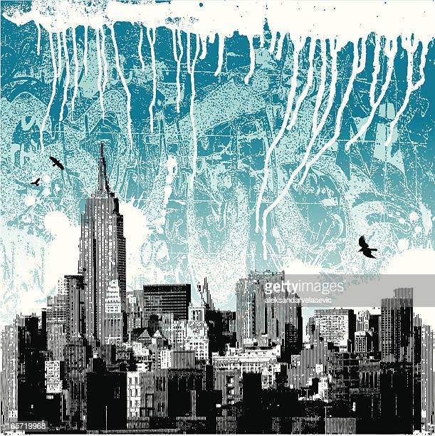 new york city winter grunge - painted image stock illustrations