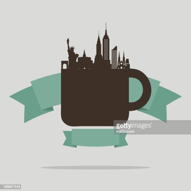 new york coffee - st. patrick's cathedral manhattan stock illustrations, clip art, cartoons, & icons