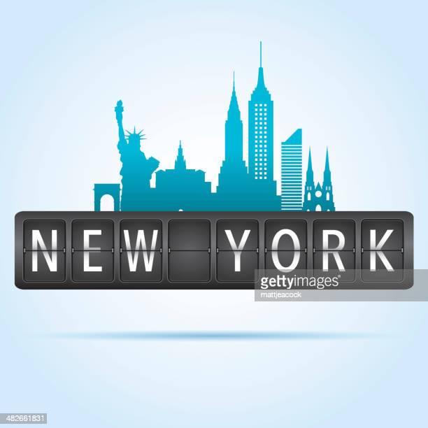 new york departure board - transportation building type of building stock illustrations, clip art, cartoons, & icons